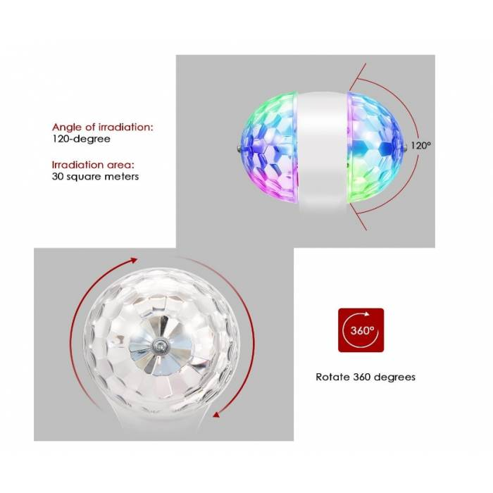 Abcled.ee - LED Pirn Disco alusega 2-side 6W RGB 220-240V