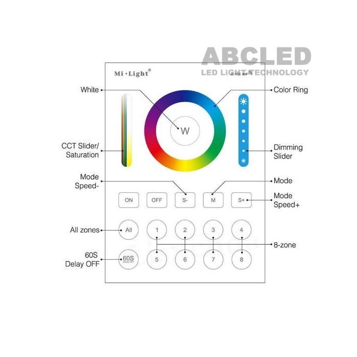 Abcled.ee - RGB+CCT Led smart настенный пульт 2.4 GHz 8-Zone