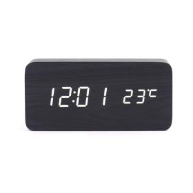Led digital alarm clock with wood casing black