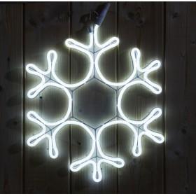 Светодиодная неоновая уличная снежинка 50см IP65 Белая